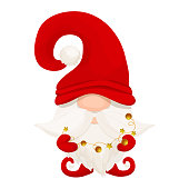 istock Cute Christmas gnome, elf in red hat in cartoon style, New year greeting character isolated on white background. Traditional funny fairy with beard. Vector illustration 1346636531