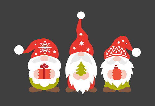 Cute Christmas gnomes. Vector festive illustration for the new year.