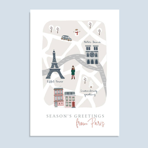 Cute Christmas greeting card, invitation with map of Paris. Hand drawn French streets, houses, Notre Dam cathedral and Eiffel tower. Winter design with warm dressed girl.Vector illustration background Cute Christmas greeting card, invitation with map of Paris. Hand drawn French streets, houses, Notre Dam cathedral and Eiffel tower. Winter design with warm dressed girl.Vector illustration background seine river stock illustrations