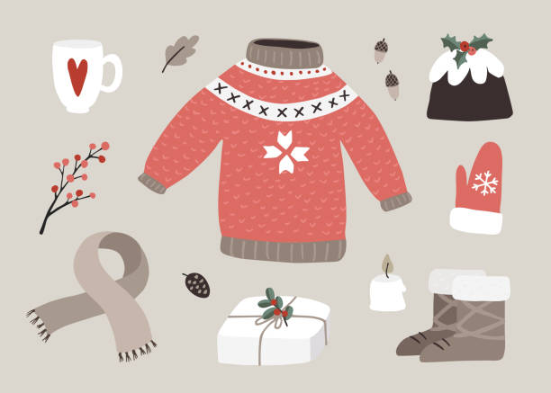 ilustrações de stock, clip art, desenhos animados e ícones de cute christmas greeting card, invitation with winter essential food, fashion and lifestyle icons. knitted sweater, glove, boots, coffee, gift box and berries. vintage flat design. isolated vectors. - christmas cake