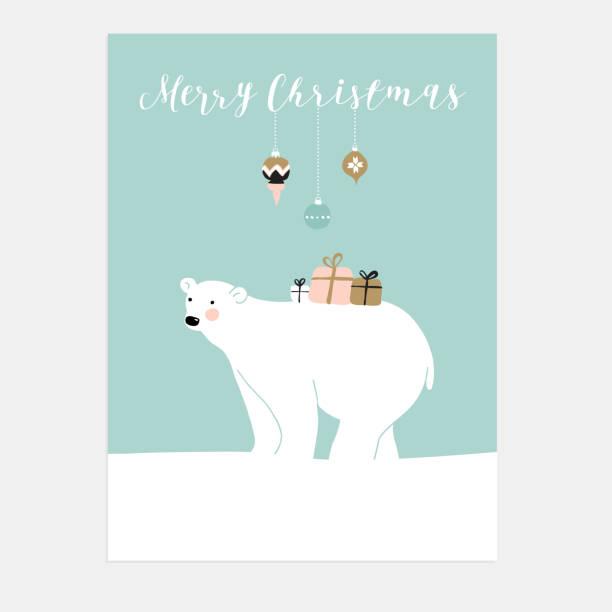 Cute Christmas greeting card. Polar bear and gift boxes. Vector. - ilustración de arte vectorial