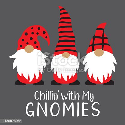 Vector illustration of cute holiday Christmas gnomes in red and black costume.