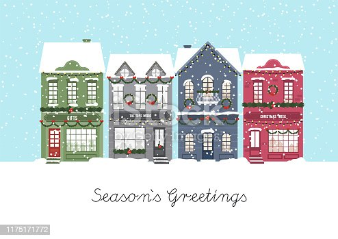 istock Cute Christmas houses. Winter village. Decorated Houses town. Season s Greetings. Vector 1175171772