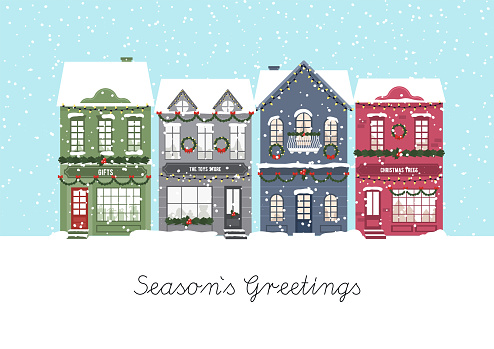 Cute Christmas houses. Winter village. Decorated Houses town. Season s Greetings. Vector