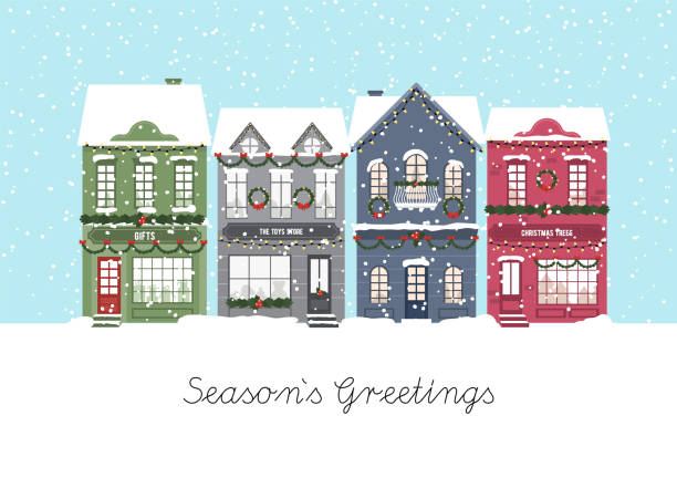 ilustrações de stock, clip art, desenhos animados e ícones de cute christmas houses. winter village. decorated houses town. season s greetings. vector - cenário