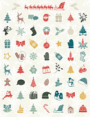 Cute Christmas Icons On A Snowflake Backgorund