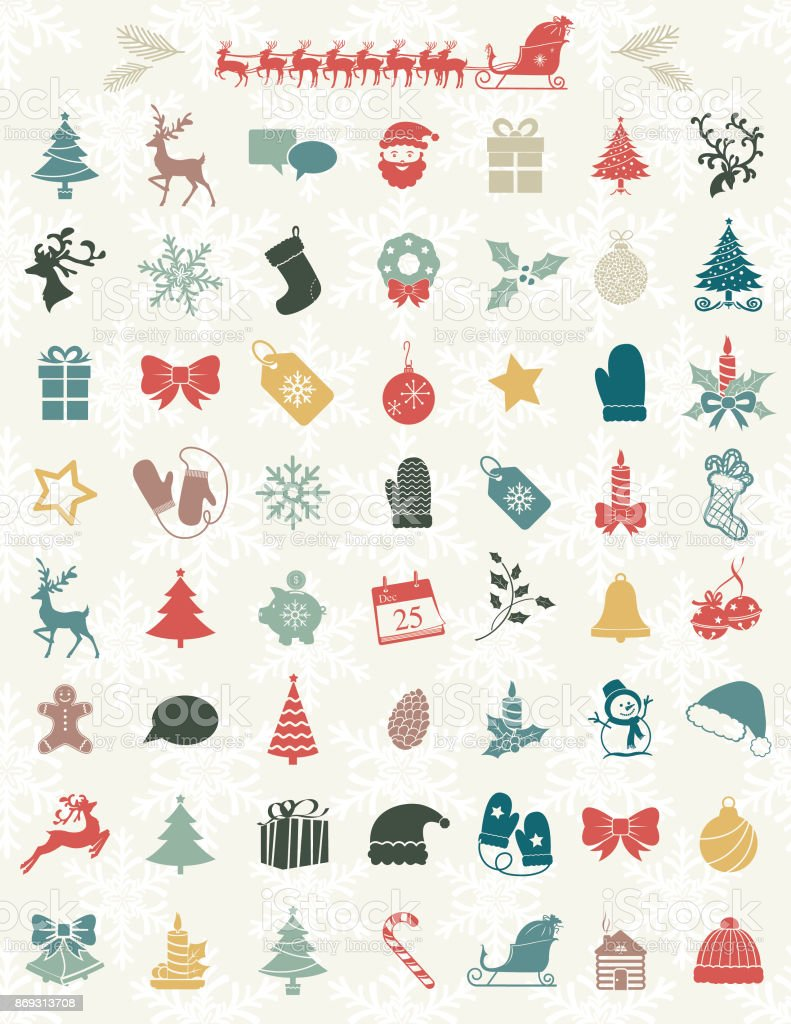 Cute Christmas Icons On A Snowflake Backgorund vector art illustration