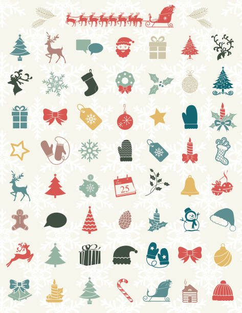 Cute Christmas Icons On A Snowflake Backgorund Cute Christmas Icons On A Snowflake Backgorund mitten stock illustrations