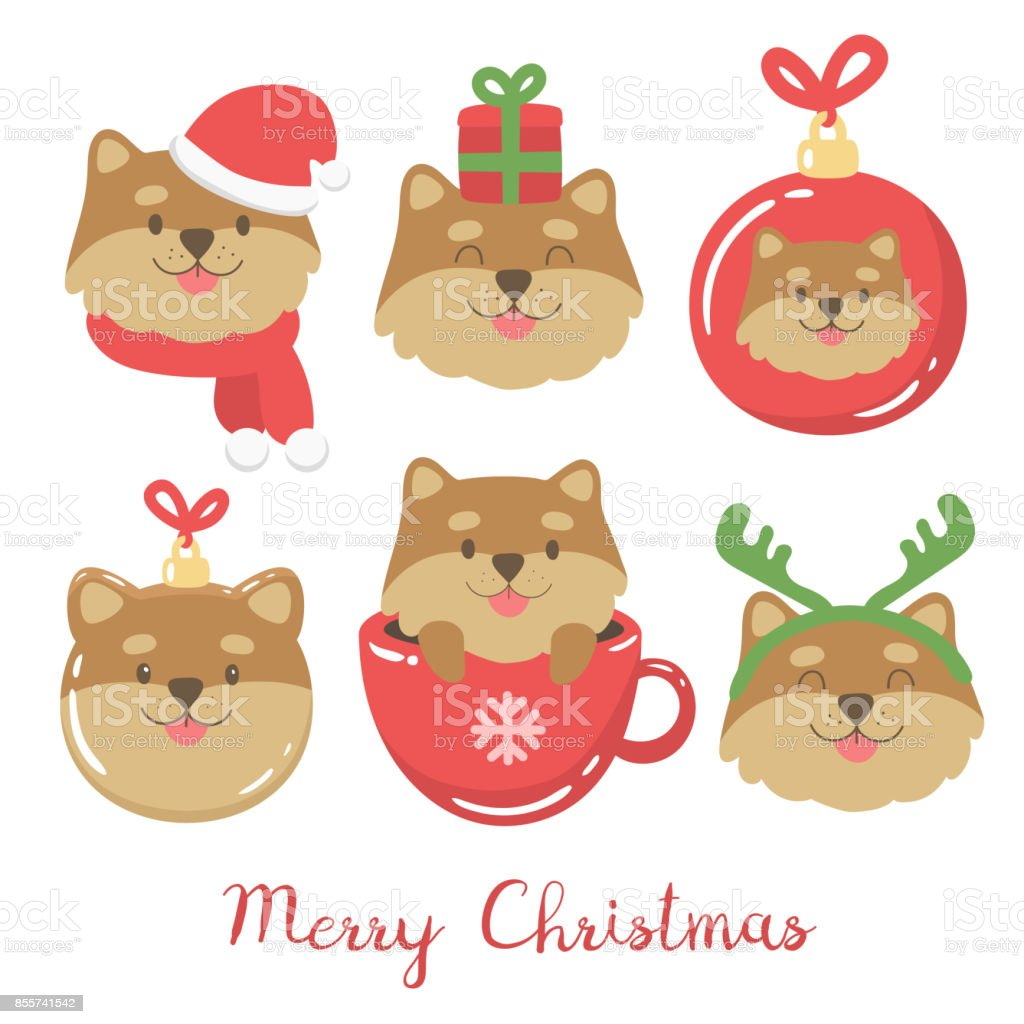 Cute Christmas Illustration With Cartoon Dogs Stock Vector Art