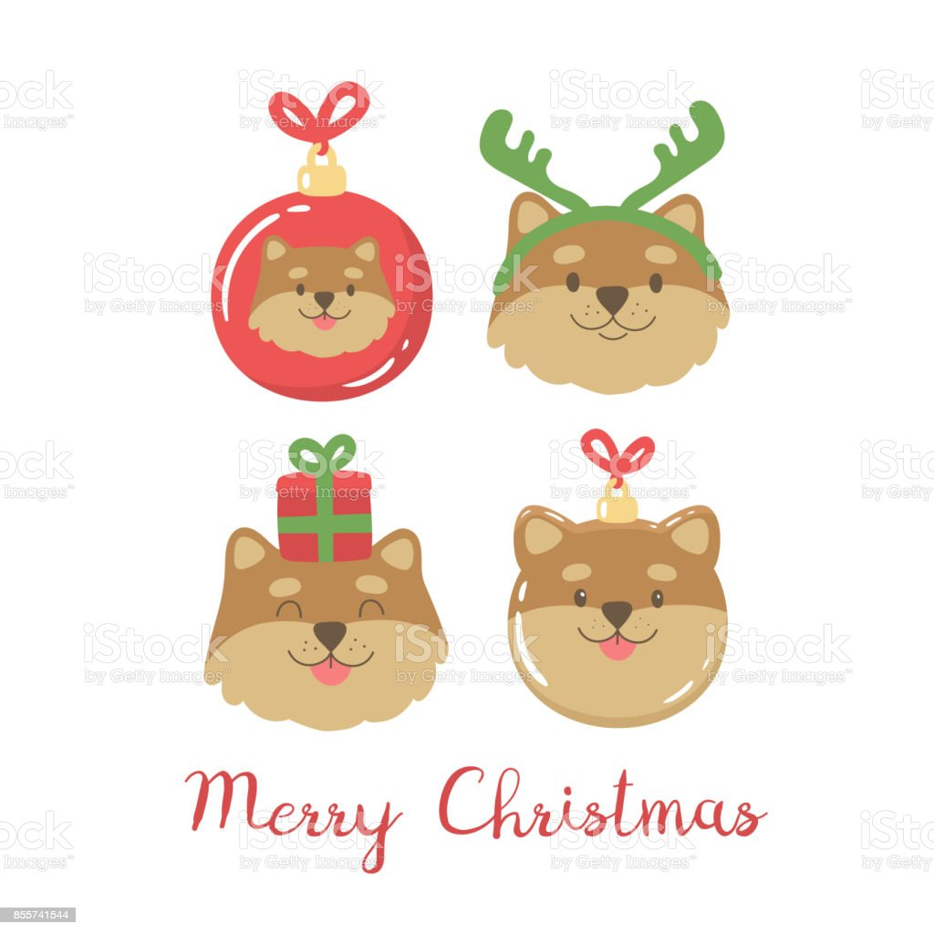 Cute Christmas Clip Art.Cute Christmas Illustration With Cartoon Dogs Stock Illustration Download Image Now