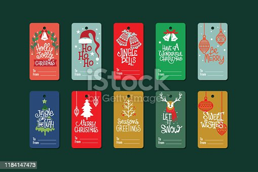 istock Cute Christmas labels set with Christmas accessories and ornament 1184147473