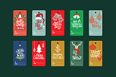 Cute Christmas labels set with Christmas accessories and ornament