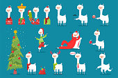 Christmas llama, alpaca vector cartoon character set.