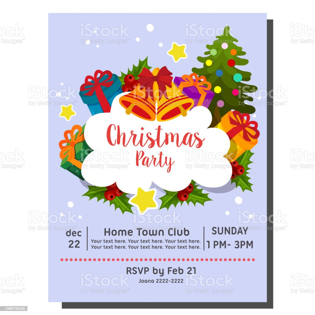 Cute Christmas Party Invitation Card Happy Santa Stock Illustration Download Image Now