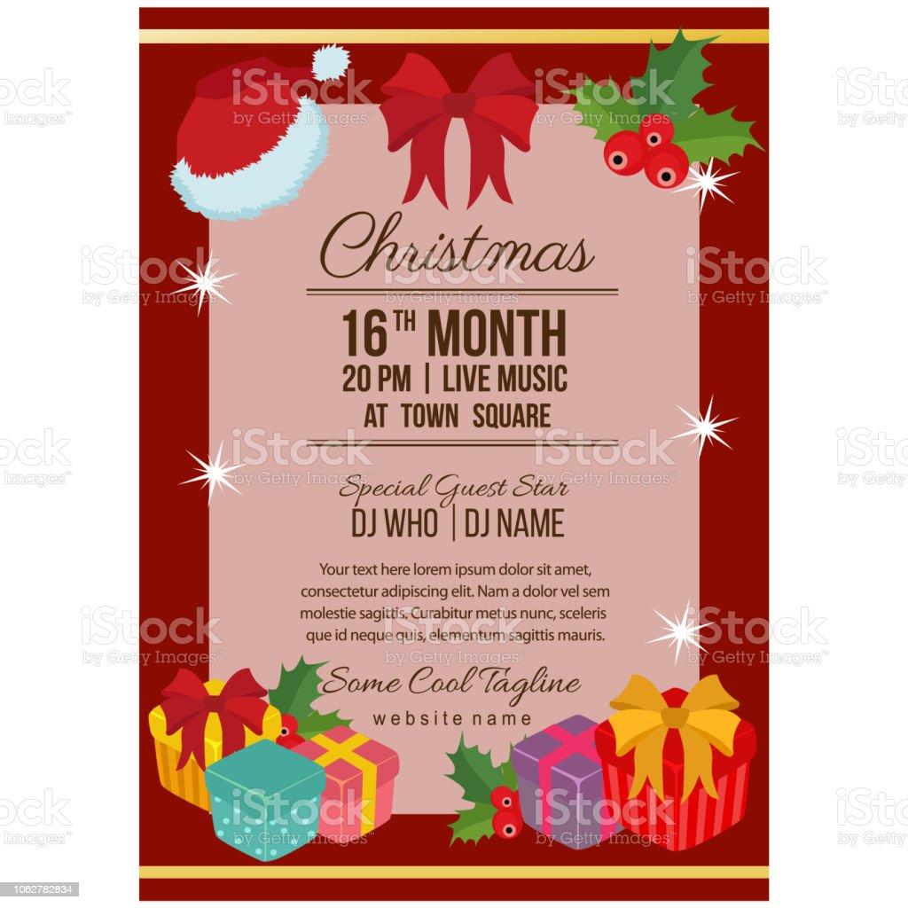 プレゼント ボックスにかわいいクリスマス パーティー ポスター