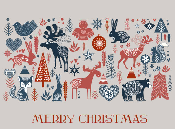 Cute Christmas pattern in Scandinavian style. Editable vector illustration Cute Christmas pattern in Scandinavian style. Editable vector illustration scandinavian culture stock illustrations
