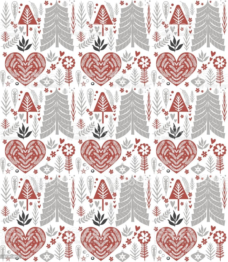 Cute Christmas pattern in Scandinavian style vector art illustration