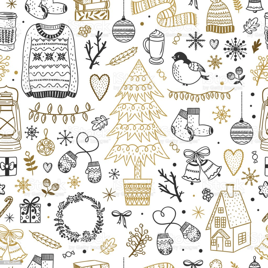 Cute Christmas pattern. Seamless background with winter elements, New Year and Christmas doodles vector art illustration