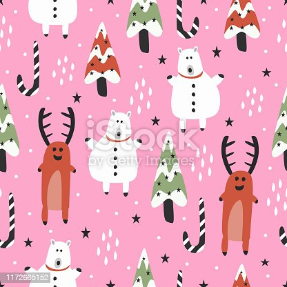 istock Cute christmas pattern with seamless hand drawn reindeer and bear 1172665152