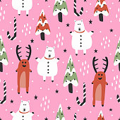 Cute christmas pattern with seamless hand drawn reindeer and bear