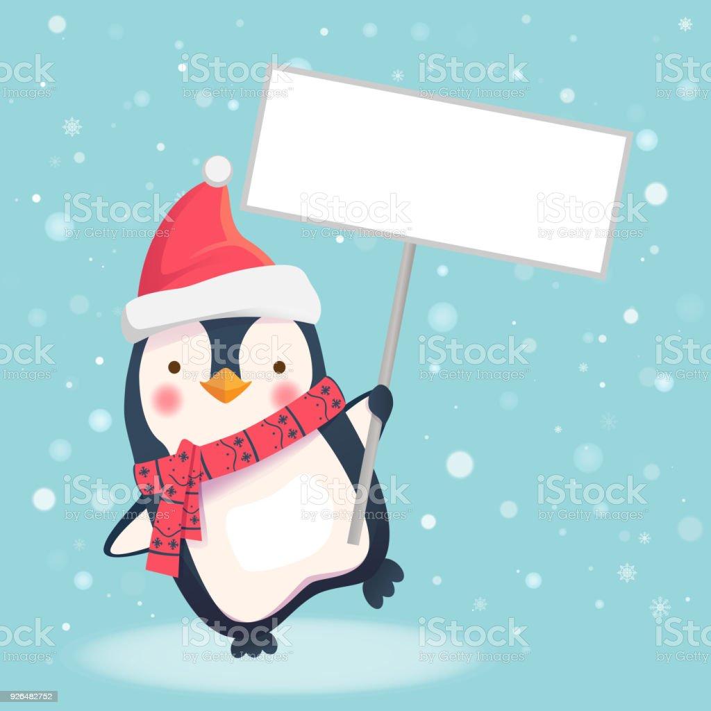 Ilustración De Pingüino De Navidad Linda Con Sombrero De Santa Con