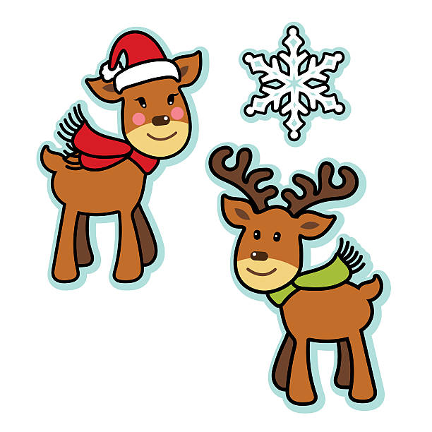 Cute Christmas reindeer boy and girl vector art illustration