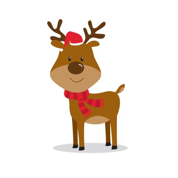 cute christmas reindeer - reindeer stock illustrations