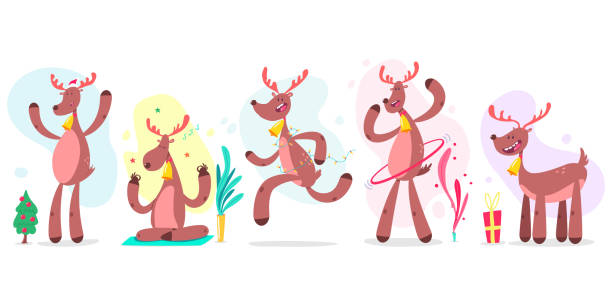 Top 60 Dancing Reindeer Clip Art, Vector Graphics And