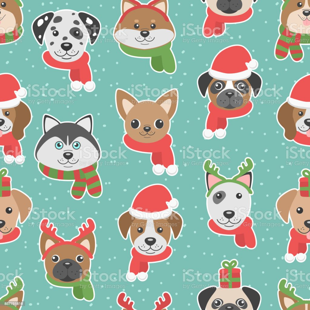 cute christmas seamless pattern with cartoon dogs vector id857751816