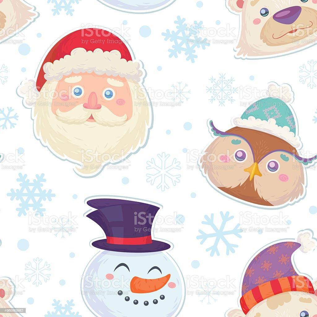 Ilustración de Osito De Peluche De Navidad Patrón De Caracteres y ...