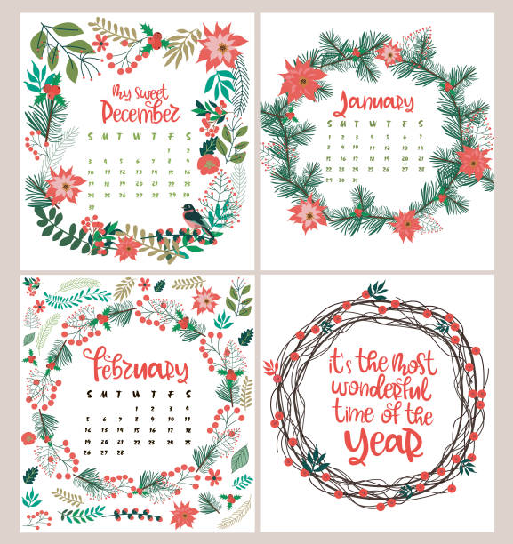 Cute Christmas set with Cards, Notes, Stickers, Labels, Tags vector art illustration