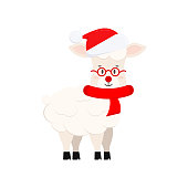 Cute christmas sheep vector icon isolated on white background. Farm animal happy lamb with in santa claus red hat, glasses and scarf cartoon character. Flat style graphic design illustration.