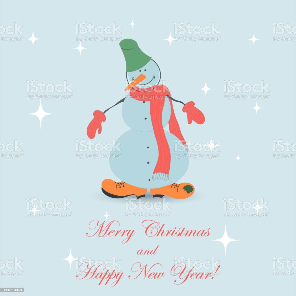 Cute Christmas Snowman vector art illustration