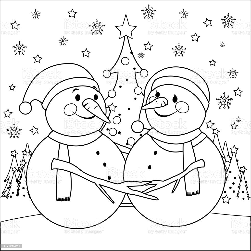 Cute Christmas Snowmen Vector Black And White Coloring Page Stock Illustration Download Image Now Istock