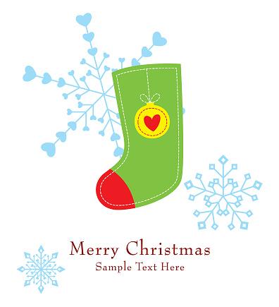 Cute Christmas Sock Greeting Card Vector Stock Vector Art & More Images of Art
