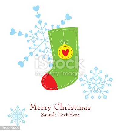 Cute Christmas Sock Greeting Card Vector Stock Vector Art & More Images of Art 965270000
