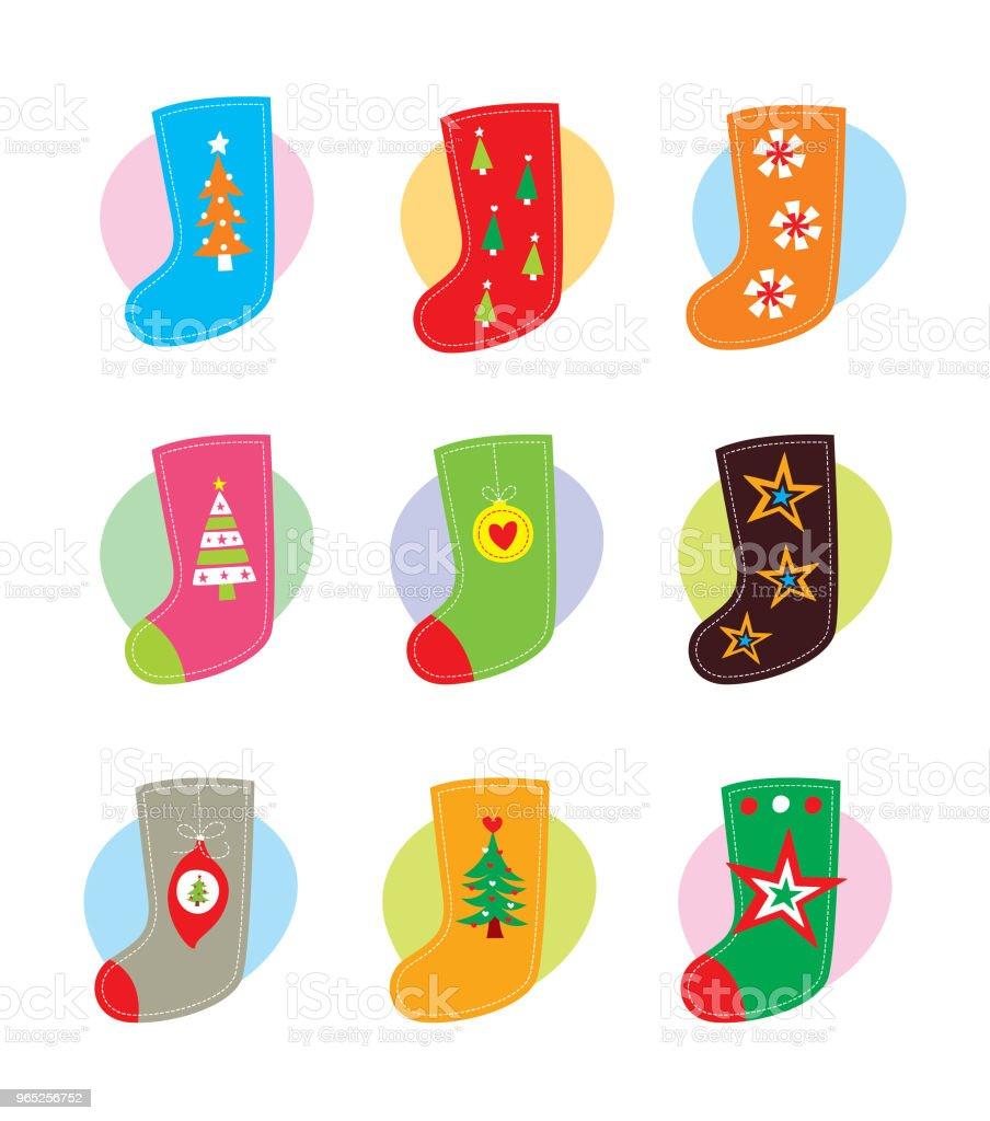 cute christmas sock vector set cute christmas sock vector set - stockowe grafiki wektorowe i więcej obrazów bazgroły - rysunek royalty-free
