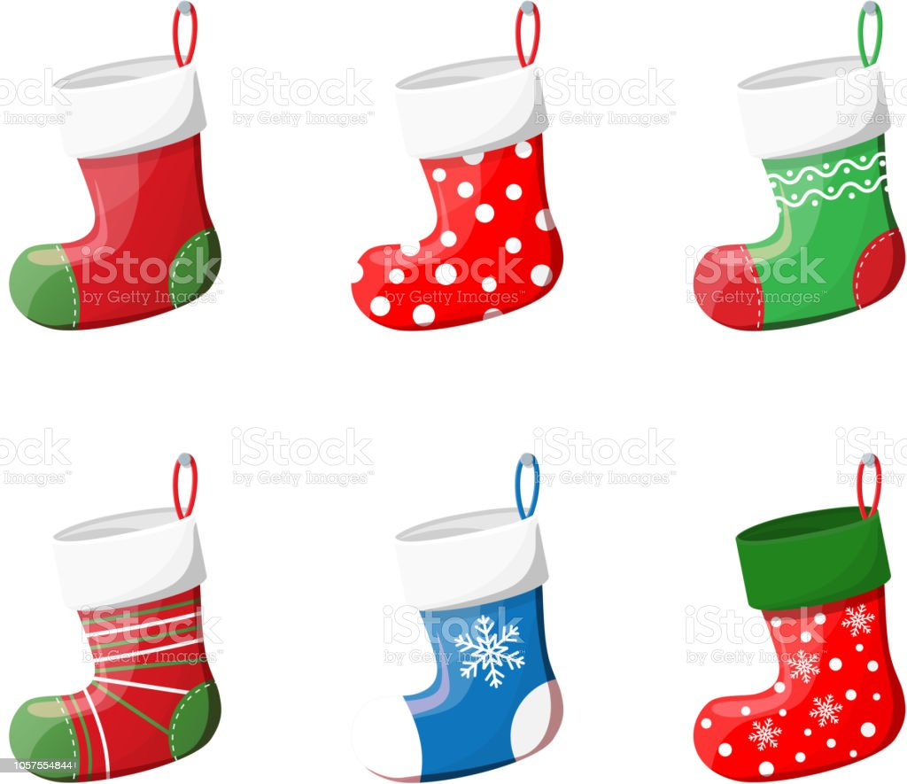 Christmas Stockings Cartoon.Cute Christmas Socks Set Stock Illustration Download Image Now