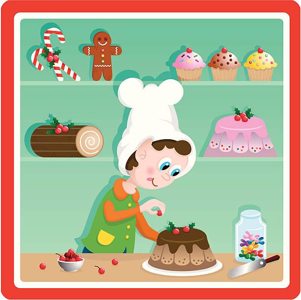 Cute Christmas toy factory baker elf vector art illustration
