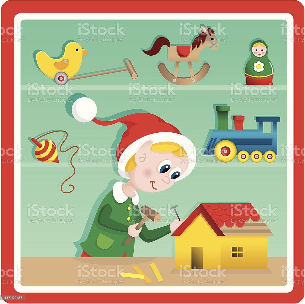 Cute Christmas toy factory toymaker elf vector art illustration