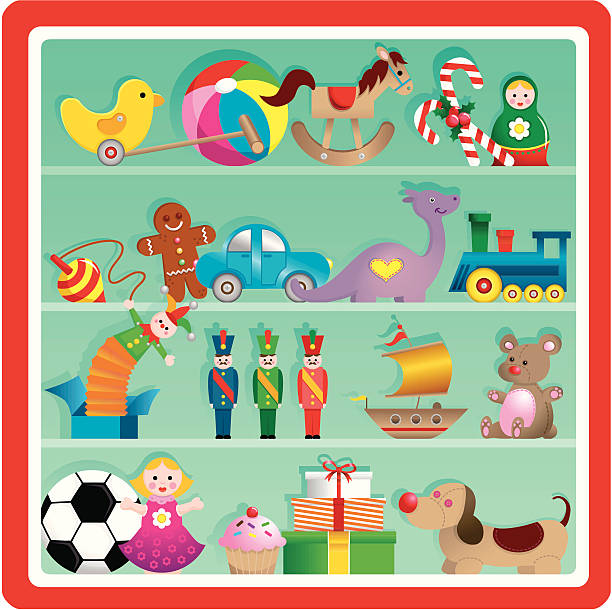 Cute Christmas Toy Store Shelf Vector Art Illustration