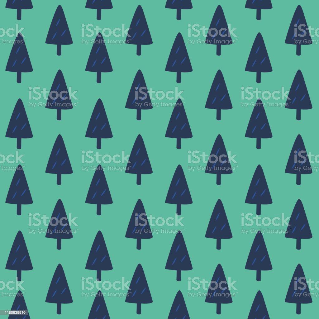 かわいいクリスマスツリーデザインシームレスなパターン冬の森パウダー