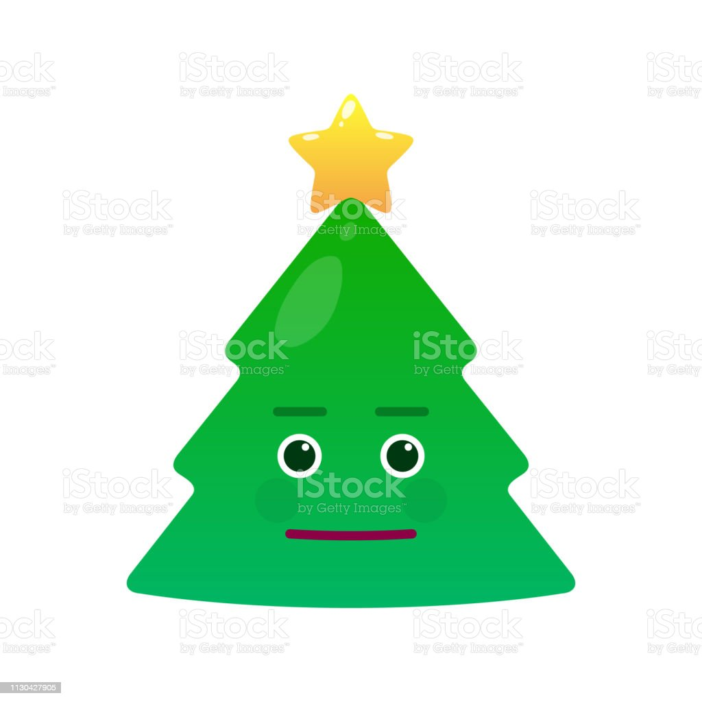 Cute christmas tree isolated emoticon vector art illustration