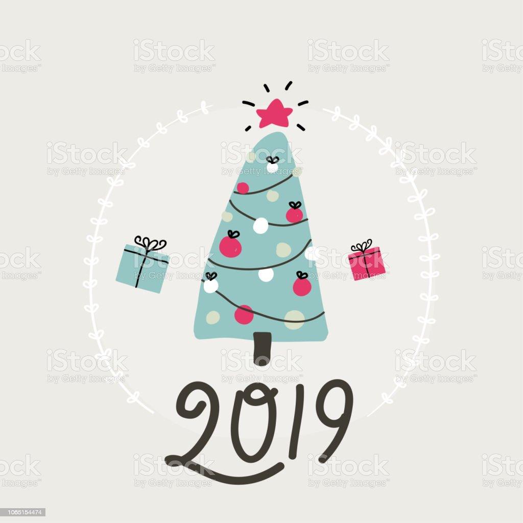 Cute Christmas Tree Simple Vector Illustration Stock