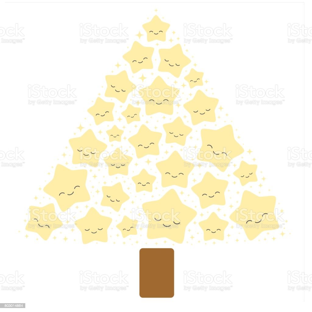 cute christmas tree with lovely cartoon stars vector illustration vector art illustration