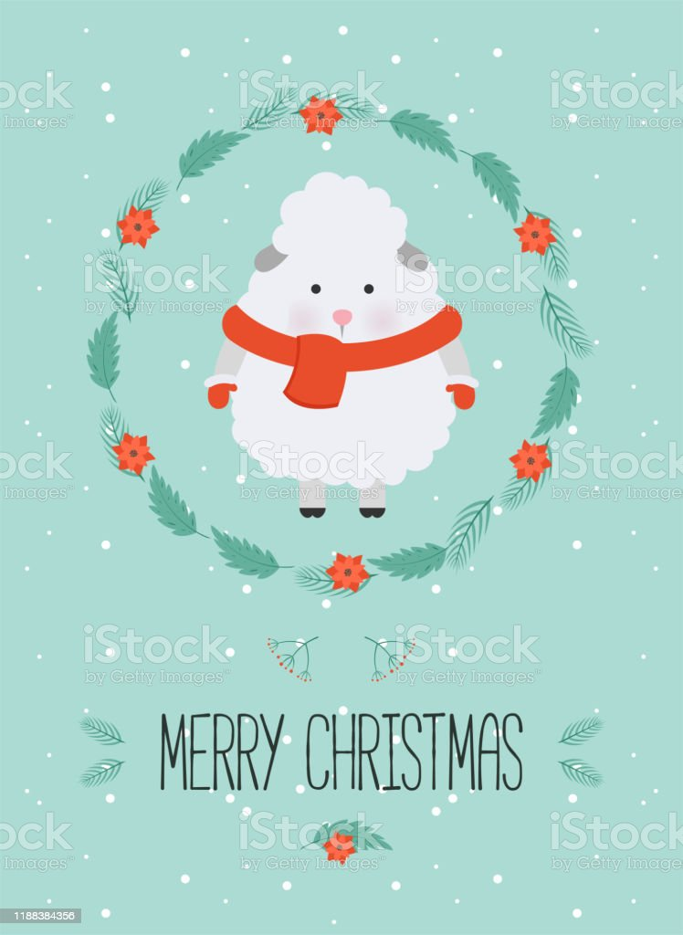 Sheep Christmas Cards 2020 Cute Christmas Woodland Character Merry Christmas Card With Cute