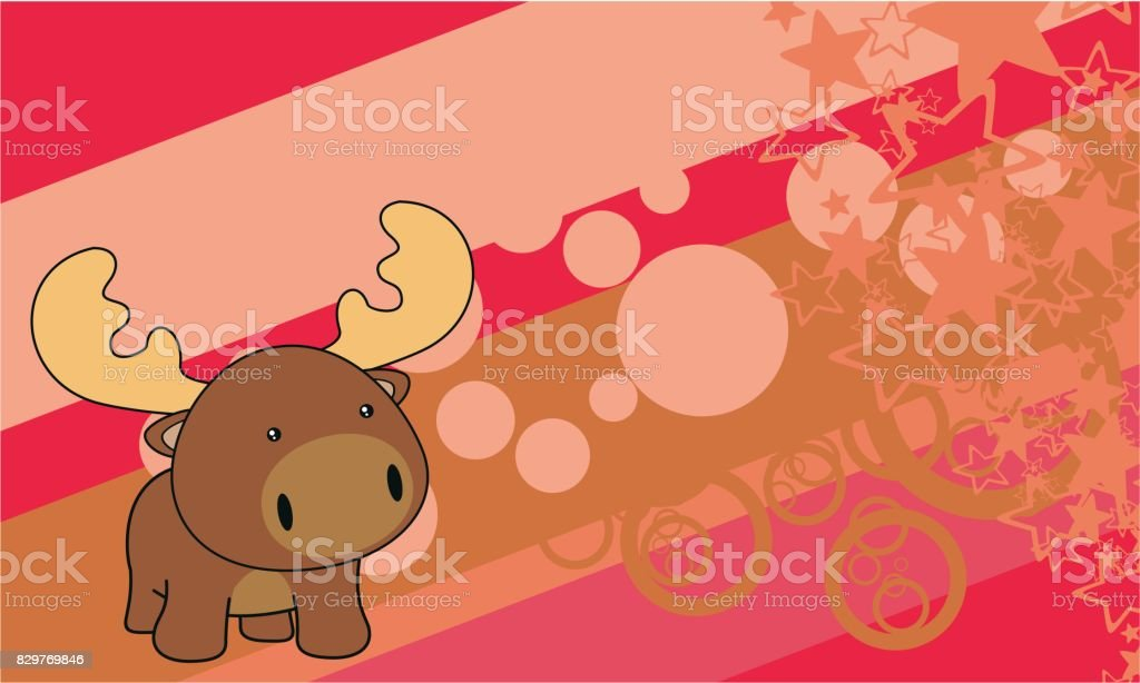 cute chubby little baby moose cartoon background