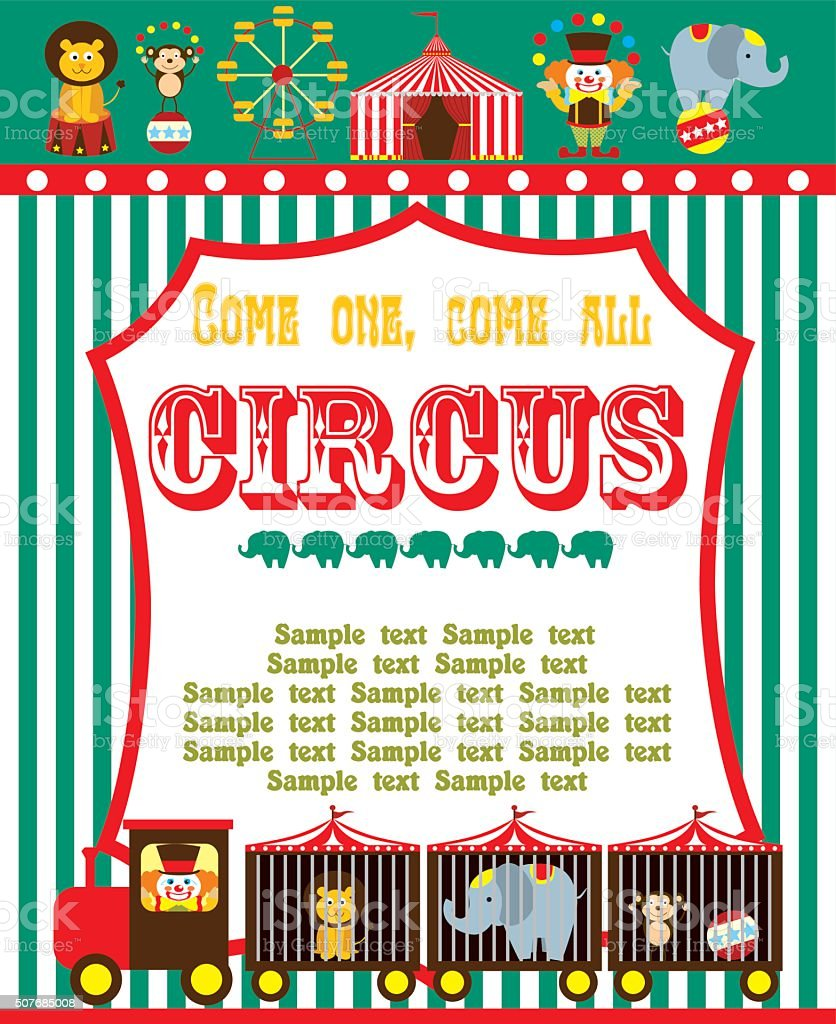 Cute Circus Card Design Stock Vector Art & More Images of