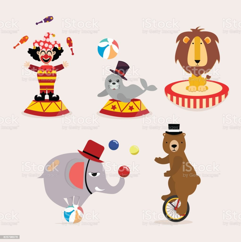cute circus character collection vector art illustration