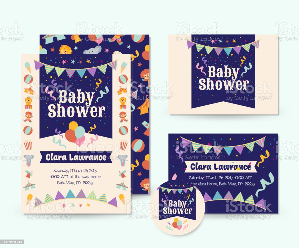 Cute Circus Theme Baby Shower Invitation Card Illustration Template